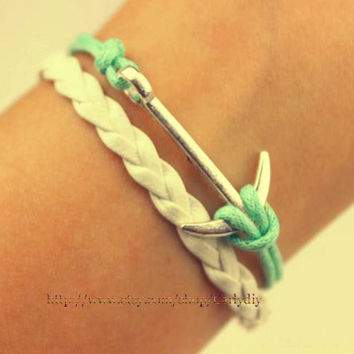 Mint green wax rope bracelet - anchor bracelet - alloy bracelet