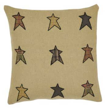 "Primitive Stars with Patchwork Border Stratton  Applique Star Accent Pillow 16"" x 16""  Cover"