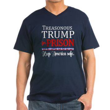 Treasonous Trump Prison Men's V-Neck T-Shirt> TREASONOUS TRUMP for Prison> Scarebaby Design