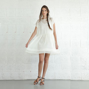 Sheer Cocktail Dress - Cream