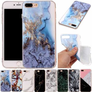 Marble Pattern Printed Thin Soft TPU Back Case Cover Skin For Iphone 5C 6 7 Plus