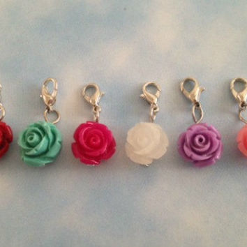 Rose dangles for living memory floating locket 12 mm red, teal, fuchsia pink, clear white, light purple, pink