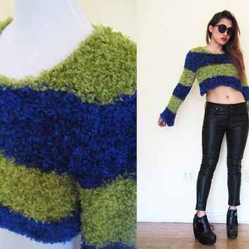 Vintage 90's rave club kid stripe blue neon green cropped fuzzy fur sweater punk rock n roll