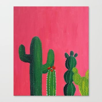 Pink cactus Canvas Print by Mikaela Puranen
