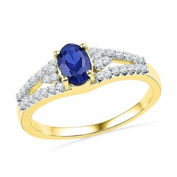 10kt Yellow Gold Women's Oval Lab-Created Blue Sapphire Solitaire Diamond Ring 1.00 Cttw - FREE Shipping (US/CAN)