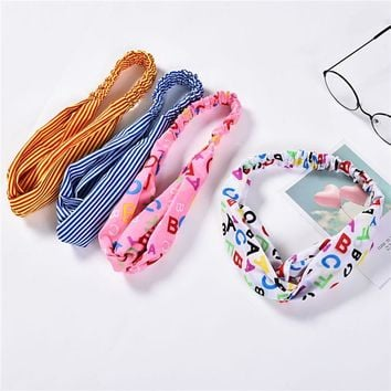 Haimeikang Women Striped Elastic Wide-Brimmed Cross Headband Hair Band Headbands Retro Turban Bandage Bandana Hair Accessories
