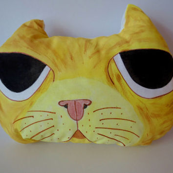 Hand Painted Cat Pillow,Nursery Decor,Decorative Yellow Cat,Soft Sculpture,Hand drawn Pillows,Animal Totems,Fiber Art ,Kitten Pillows
