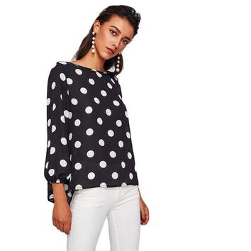 Polka Dot Blouses Women Bow Back Long Sleeve Autumn Tops  Elegant Women Shirts Office Casual Blouse