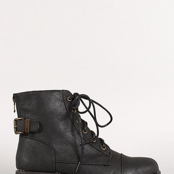 Bamboo Round Toe Buckled Lace Up Zip Booties
