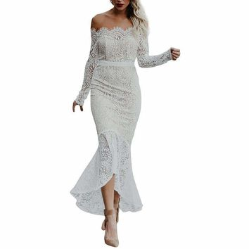 SHIPS FROM USA Mermaid Lace Dress Long Sleeve Off Shoulder White Elegant Dress Autumn Women
