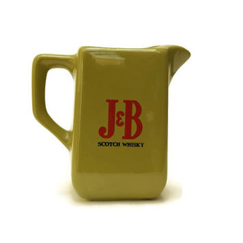 J and B Whisky Pitcher. Whisky Advertising Pitcher. 1970s Green Ceramic Jug. Retro Barware. Bar Decor.