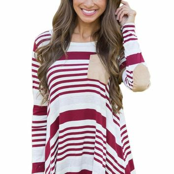 Burgundy Striped Patch Elbow Raglan Blouse