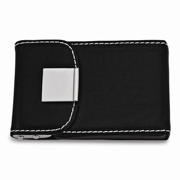 Black Faux Leather Business Card Case - Engravable Personalized Gift Item
