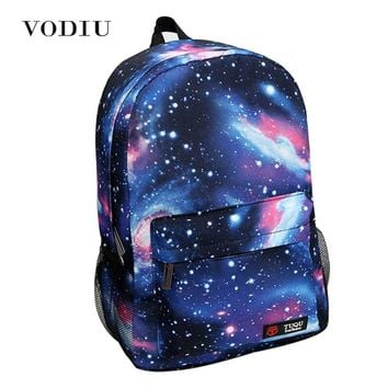 2017 Harajuku Style Galaxy Cosmos Zipper Canvas Women Men Backpacks Printing School Bags Teens Girls Boys Travel Large Mochila