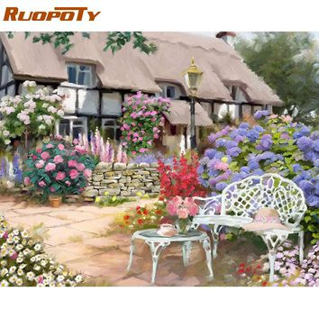 RUOPOTY Frame House Flower DIY Painting By Number Acrylic Paint By Numbers Modern Wall Art Canvas For Home Decor Artwork 40x50cm