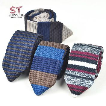 Men's Knitted Tie Leisure Triangle Striped Neckties 7cm Width Woven Tie New British Style Skinny Cravate Free Shipping For Party