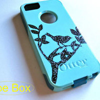 Custom glitter Otterbox Commuter iphone 5s Case Sparkly bird