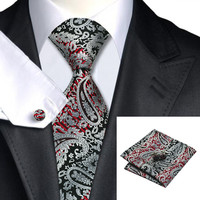 Silver Red Paisley Silk Necktie with Hanky and Cufflinks Set