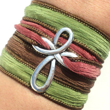 Bohemain Wrap, Silk Wrap Bracelet, Cross Bracelet, Cross Jewelry, Fall, Autumn, Bohemian Bracelet, Jewellery, Christmas, Stocking Stuffer
