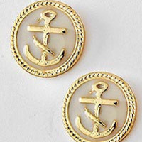 Pink & Gold Anchor Earring Set
