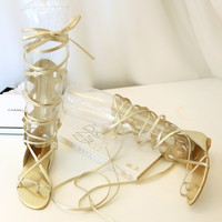 Gold Designer New Summer Lace Up Sandals = 4777194116