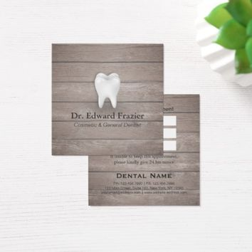 Professional Dental Care Dentist Wood Appointment Square Business Card