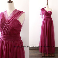 Bridesmaid Dress, Ball Gown Wedding Party Dresses, Straps/Sweetheart/One Shoulder Purple Tulle Prom Dresses, Formal Gown, Plus Size Custom