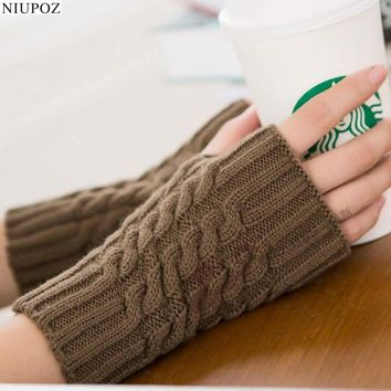 Pretty Stylish Gloves Women Female Stretch Knit Gloves Hot Winter Warm Arm Crochet Knitting warm Fingerless Gloves G2