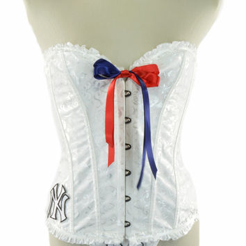 NEW Style 2015 ~  New York Yankees White Black Lace Up Corset Waist Trainer Bustier Women