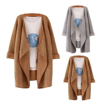 2017 Women's Winter Thick Warm Knitted Cashmere Coat Cardigan Solid Lapel Loose Woolen Parka Long Jacket Plus Size Trench Coats