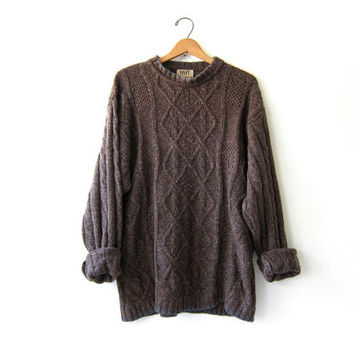 20% OFF SALE...Vintage dark brown sweater. Silk & wool Sweater. Fisherman's sweater. Oversized soft cable knit sweater.