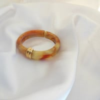 Vintage Bangle Bracelet Marble Cream and Brown by AVON