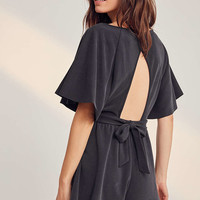 Silence + Noise Moonie Heavy Cupro Flutter-Sleeve Romper - Urban Outfitters