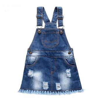 Hot Baby dress Solid baby girl jeans dress for Newborn Blue Tassel cute infant denim dress kids girls Suspender dresses overalls