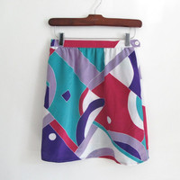 vintage 1980s abstract print mini skirt - white purple pink lavender green - short - xs / small