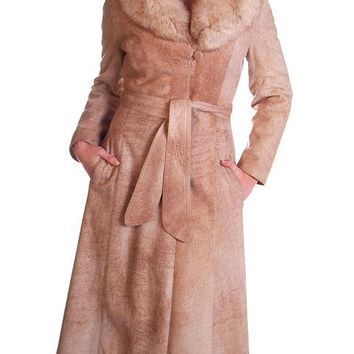 Vintage Mottled Beige Suede Trench Coat Fox Collar 1970S Medium