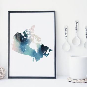 Canadian map watercolor art print, canada map, office decor, home wall decor, map painting, apartment wall art, modern print,map poster gift