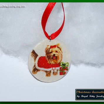 Yorkshire Terrier Christmas decoration,  handmade Christmas decoration, decoupage decoration, Christmas Ornament, Christmas Gift.
