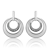 ZLYC Women's Delicate Curved Black and Whitec Classical Design Earrings Ear Studs