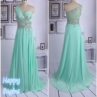 Chiffon Crystal Prom Dress Beaded Long Prom Dress Fashion Evening Dress 2014
