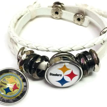 NFL Pittsburgh Steelers Bracelet Snap Logo &  Cool Smokey Logo Football Fan White Leather  W/2 18MM - 20MM Snap Charms