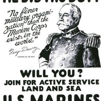 US Marines War recruitmant poster art reproduction navy admiral war propaganda illustration black & white