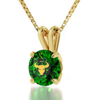 Taurus Necklace - Zodiac Pendant with Star Sign Inscribed in 24kt Gold on Cubic Zirconia Gemstone - Astrology Jewelry - FREE SHIPPING