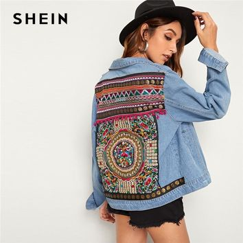 SHEIN Blue Embroidered Back Pocket Denim Spring Jacket Coat Women Autumn 2019 Streetwear Single Breasted Ladies Casual Jackets