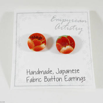 Kimono Fabric Earrings Japanese Button Earrings - Japanese Cotton Handmade Jewelry Button Earrings Sakura Cherry Blossoms