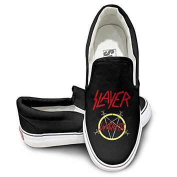 Slayer Band Athletic Unisex Flat Canvas Shoes Sneaker Black