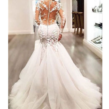 Empire Waist Gown Lace Mermaid Chapel Train Long Lace Sleeve Wedding Gowns V-Neck
