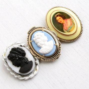 Vintage Cameo Brooch Pin Lot - 3 Oval Lucite & Glass Victorian Lady Costume Jewelry Pins