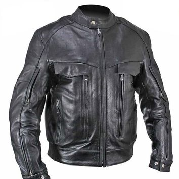 Xelement B4495 Bandit Mens Black Buffalo Leather Cruiser Motorcycle Jacket
