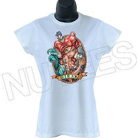 Little Mermaid Siren Ladies T-Shirts Tank Top Vests S-XXL